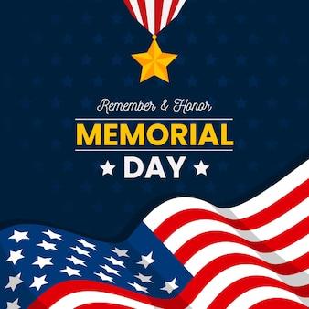 Memorial day com estrela e bandeira