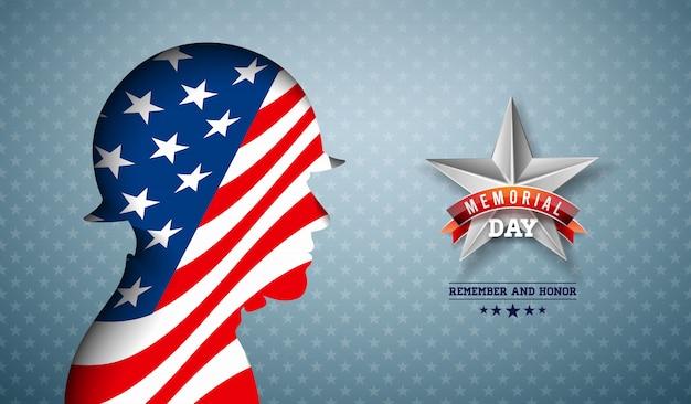 Memorial day da ilustração dos eua. design de comemoração nacional americana com bandeira na silhueta de soldado patriótico na luz estrela de fundo para banner, cartão ou cartaz de férias