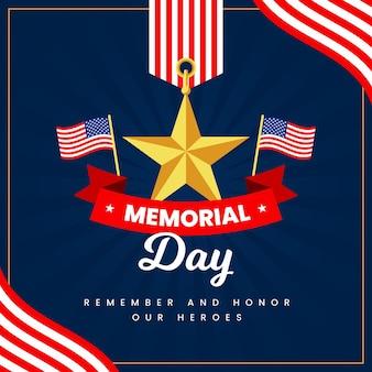 Memorial dia com bandeiras e estrela