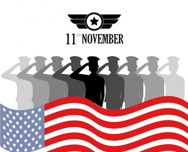Memorial veterans day com soldados e bandeira