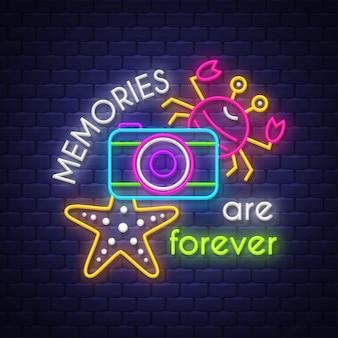 Memórias de verão são para sempre. letras de sinal de néon