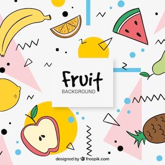 Memphis, fundo, vário, mão, desenhado, frutas