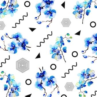 Memphis pattern com aquarela floral