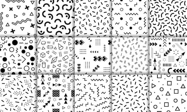 Memphis seamless patterns funky retro estilo anos 90 fundos abstratos elementos gráficos geométricos