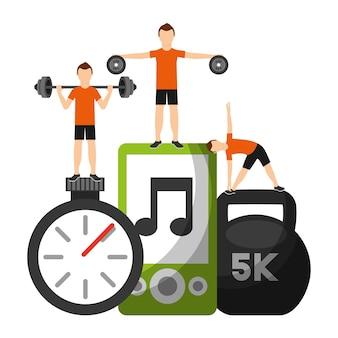 Men sporty fitness barbell dumbbell cronômetro e mp3