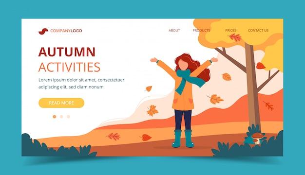 Menina a brincar com as folhas no parque no outono. modelo de página de destino.