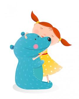 Menina, abraçando, brinquedo, urso bonito