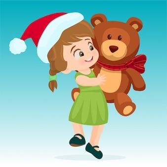 Menina, abraçando, um, urso teddy