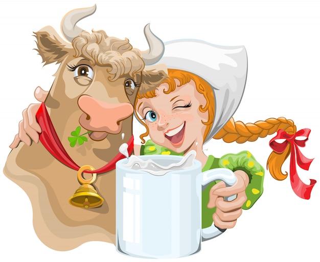 Menina abraçando uma vaca e um fazendeiro segurando um copo de leite