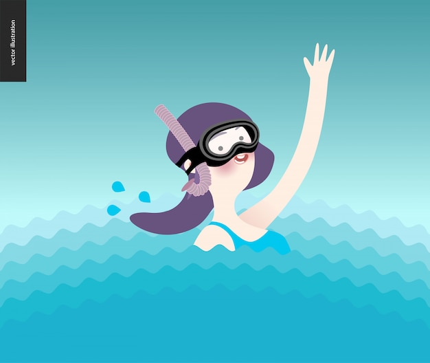 Menina acenando, usando máscara de mergulho na água