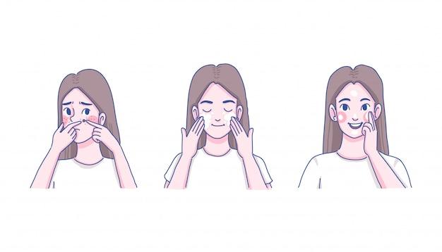 Menina acne cuidados com a pele