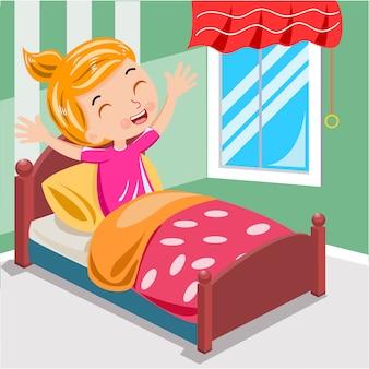 Menina acorda de manhã no vetor de cama
