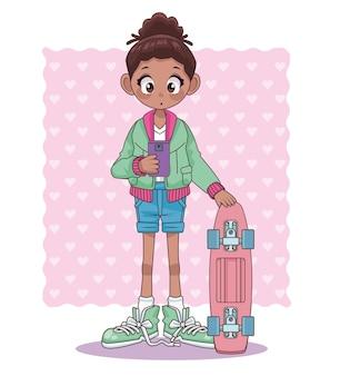 Menina adolescente afro com ilustração de personagem de anime de skate