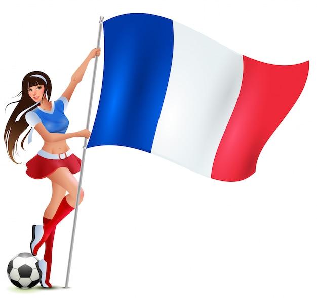 Menina adolescente bonita fã segurando a bandeira francesa