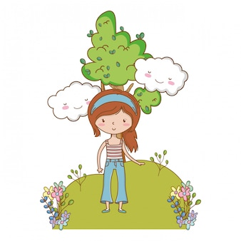 Menina adolescente de desenho animado