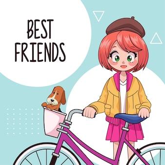 Menina adolescente em ilustração de personagem de anime de bicicleta