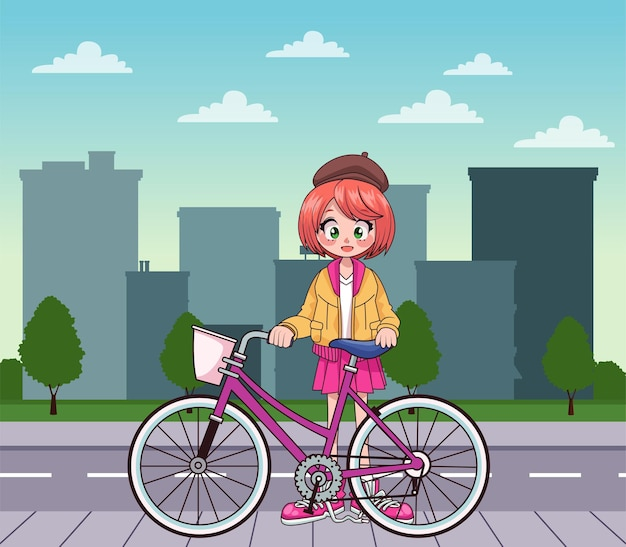 Menina adolescente em personagem de anime de bicicleta na ilustração da cidade