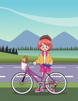 Menina adolescente em personagem de anime de bicicleta na ilustração de estrada