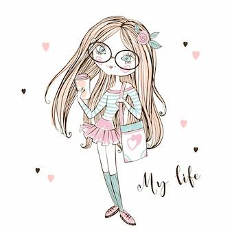 Menina adolescente fashionista bonita de óculos com uma xícara de café. minha vida. vetor.