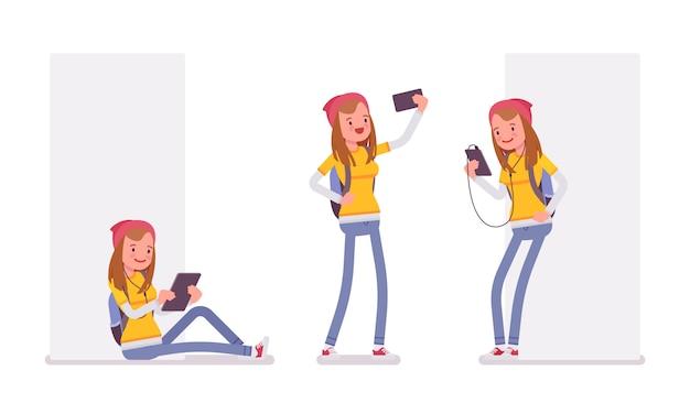 Menina adolescente usando aparelhos diferentes