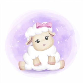 Menina adorável bebê adorável ovelhas