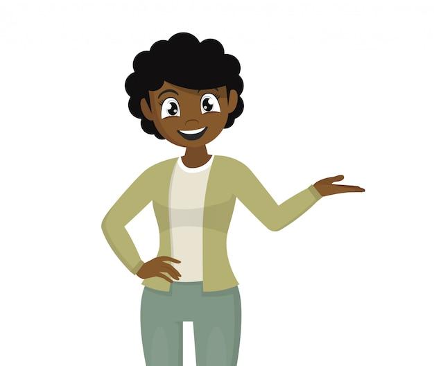 Menina africana, apontando a mão para introduzir algo. mulher apresentando a mão para copiar o espaço.