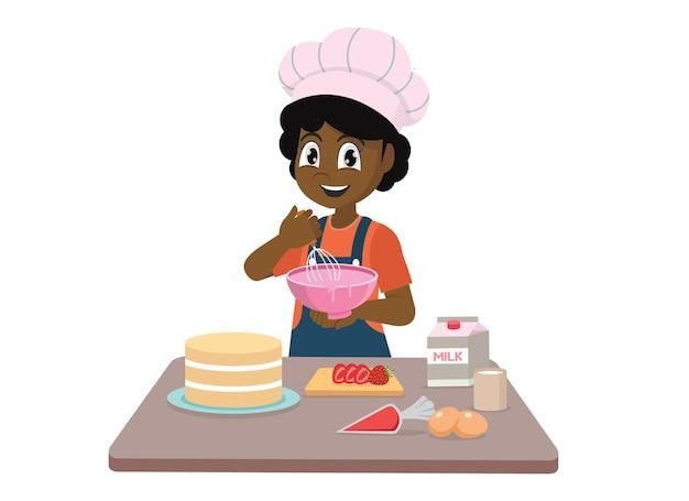Menina africana cozinhando fazendo um bolo