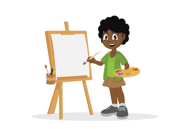 Menina africana do artista que pinta na lona.