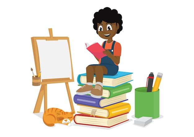 Menina africana lendo livros vetor eps10