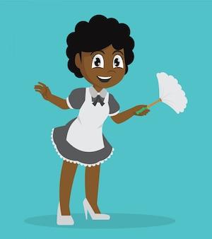 Menina africana que guarda a limpeza do espanador.