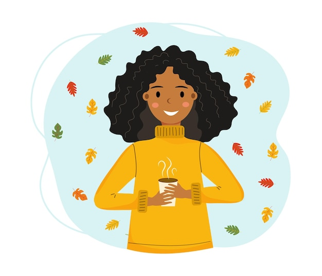 Menina afro-americana sorridente com um copo de bebida quente nas mãos. folhas coloridas caindo
