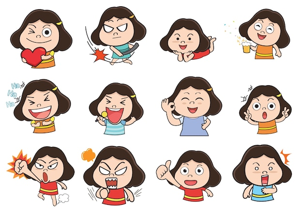 Menina agindo dos desenhos animados