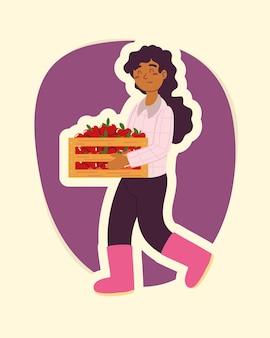 Menina agricultora com cesta de maçãs isoladas