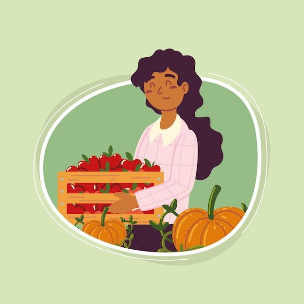 Menina agricultora com frutas