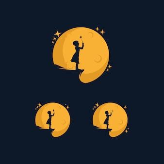 Menina alcançando o logotipo da estrela com o símbolo da lua