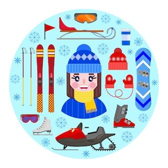 Menina alegre e feliz na roupa do inverno e no equipamento do inverno dos esportes.