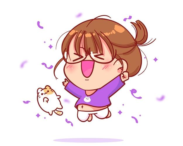 Menina alegre e fofa pulando desenho animado
