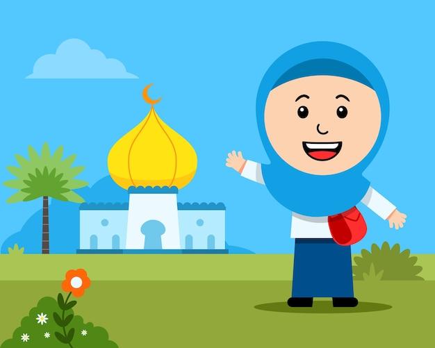 Menina alegre estudante muçulmana em frente à mesquita