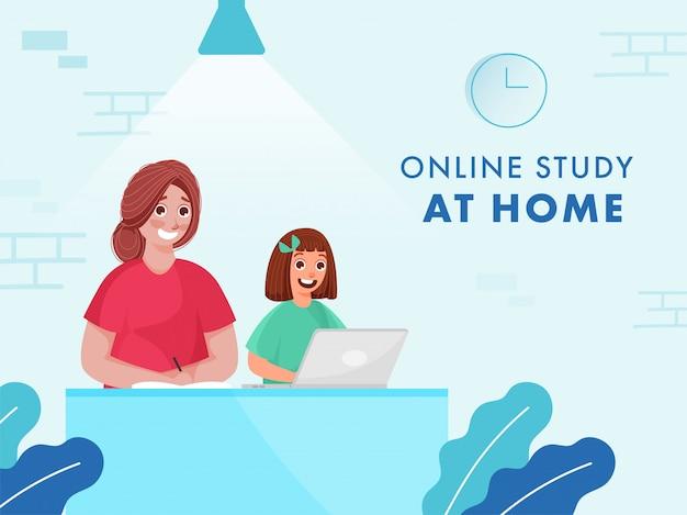Menina alegre, tendo estudo on-line do laptop em casa e livro escrito pela jovem durante a pandemia de coronavirus.