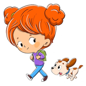 Menina andando com seu cachorro com uma mochila no caminho para a escola