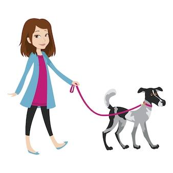 Menina andando com um cachorro na coleira.