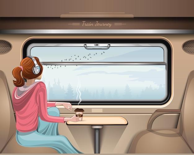 Menina andando de trem e olhando pela janela