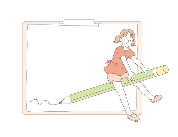 Menina andando em uma vassoura de lápis e deixando alguns traços na prancheta em estilo de linha
