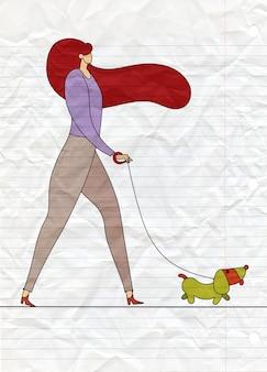 Menina, andar, com, cão