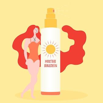 Menina anuncia spray para proteção contra o sol. radiação ultravioleta e filtro solar umidade