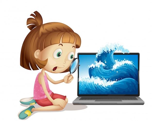 Menina ao lado do laptop com onda no fundo da tela