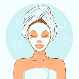 Menina, aplicando, máscara facial