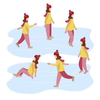 Menina aprende a patinar no gelo. atividades de inverno para crianças. ilustração em vetor plana moderna
