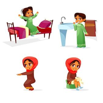 Menina árabe atividade de rotina diária de manhã