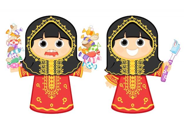 Menina árabe cuidando dos dentes e o outro comendo doces e balas